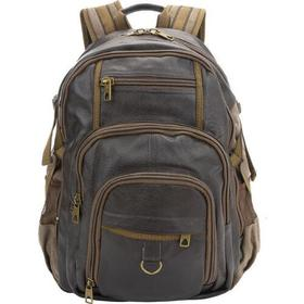 Black Rivet Leather / Canvas Backpack