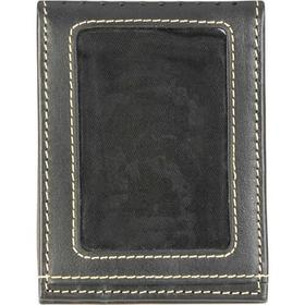 Black Rivet Leather Front Pocket Wallet w/ Perfora