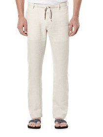 Perry Ellis Linen Drawstring Pants BEIGE