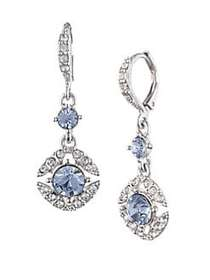 Givenchy Faceted Crystal Drop Earrings SILVERTONE
