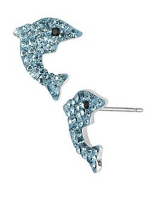 Betsey Johnson Pave Dolphin Stud Earrings BLUE
