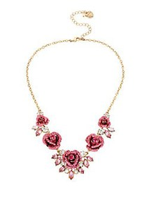 Betsey Johnson Glitter Rosette Statement Necklace