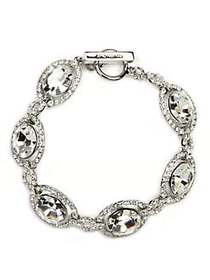 Givenchy Silver-Tone Crystal Toggle Bracelet CLEAR