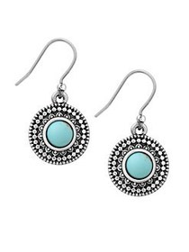 Lucky Brand Jeweled Medallion Earrings SILVER