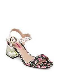 Betsey Johnson Livvie Pink Floral Sandals BLACK MU