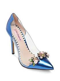 Betsey Johnson Jane Embellished Pumps BLUE MULTI