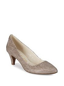 Anne Klein Rosalie Kitten Heel Metallic Pumps GOLD
