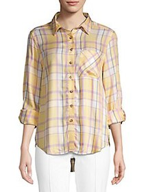 C&C California High-Low Plaid Shirt LEMON TWIST