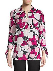 JONES NEW YORK Floral-Print Button-Down Shirt DEEP