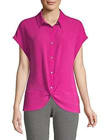 JONES NEW YORK Twist Button Front Blouse DEEP PINK