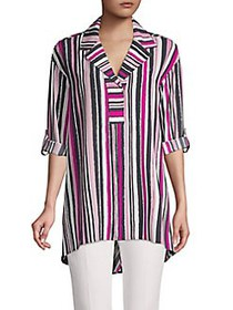 JONES NEW YORK Multicolored Stripe Tunic DEEP PINK