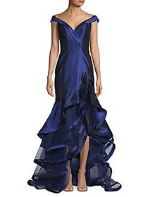 Mac Duggal Off-the-Shoulder Tiered Ruffle Gown MID