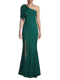 Betsy & Adam One-Shoulder Bow Gown HUNTER