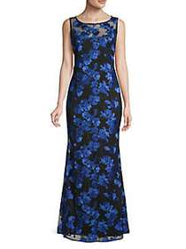 Karl Lagerfeld Paris Embroidered Floral Lace Gown