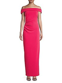 Vince Camuto Off-the-Shoulder Sheath Gown BERRY