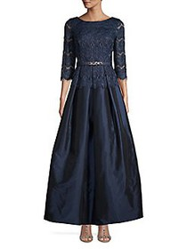 Eliza J Floral Lace Three-Quarter Gown NAVY SILVER