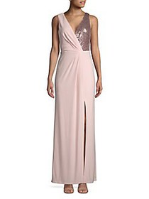 Vince Camuto Sequin Chiffon Gown BLUSH