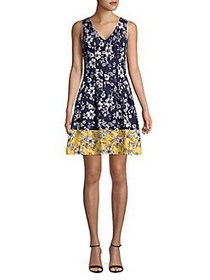 Vince Camuto Floral Pleated Fit-&-Flare Dress NAVY
