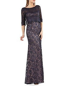 JS Collections Embroidered Lace Overlay Gown NIGHT