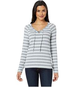 Lucky Brand Stripe Lace-Up Top