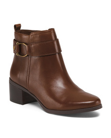 Leather Buckle Wrap Ankle Booties