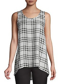 JONES NEW YORK Plaid Hi-Lo Tank MINT COMBO