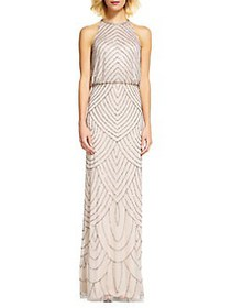 Adrianna Papell Beaded Halter Gown BEIGE
