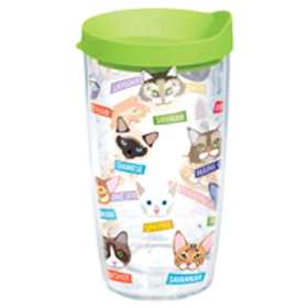 Tervis Flat Art Cat Tumbler 16oz with Travel Lid