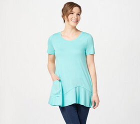 LOGO by Lori Goldstein Short Sleeve Knit Top with