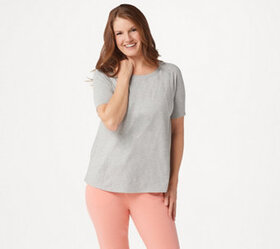 """As Is"" AnyBody Cozy Knit Short-Sleeve Swing Top -"