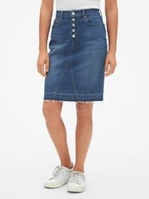 High Rise Button-Fly Denim Pencil Skirt with Raw H