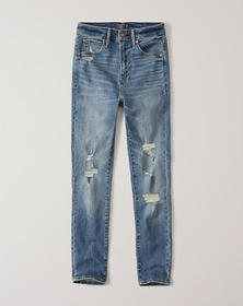 Ripped High Rise Ankle Jeans, Shredded Medium Wash