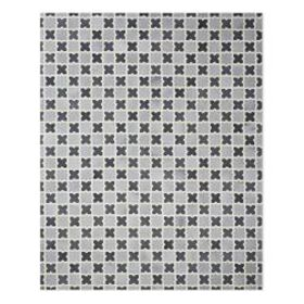 Zellige Mosaic Pieced Hide, Charcoal/Silver