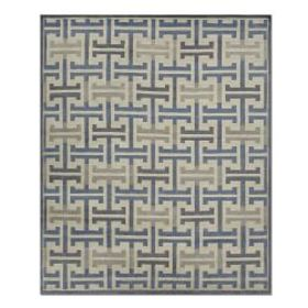 Mykonos Grid Hand Knotted Rug, Peacoat