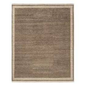 Greek Key Border Hand Knotted Rug, Hickory