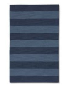 Wide Stripe Dhurrie Rug, Evening Blue