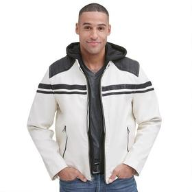 Wilsons Leather Faux-Leather Hooded Moto Jacket w/