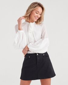 7 For All Mankind Bow Tie Blouson Top in Soft Whit
