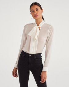 7 For All Mankind Sheer Neck Tie Top in Soft White