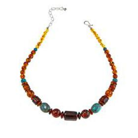 Jay King Turquoise and Amber Sterling Silver Beade