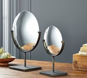 Pottery Barn Round Bronze Mirror On Stand