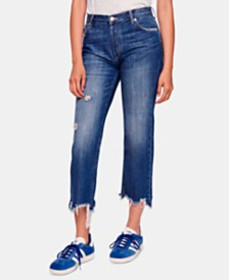 Free People Maggie Cotton Ripped Straight-Leg Jean