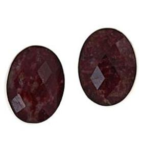 Jay King Sterling Silver Oval Thulite Clip Earring