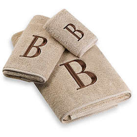 Avanti Premier Brown Block Monogram Bath Towel in