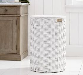 Pottery Barn Perry Round Hamper - White