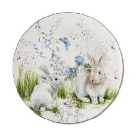 Floral Meadow Dinner Plates, Bunny