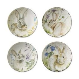 Floral Meadow Dip Bowls, Set of 4, Bunny