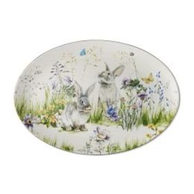 Floral Meadow Oval Platter, Bunny