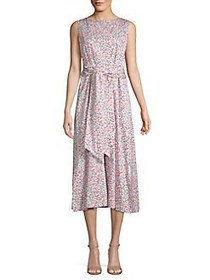 Anne Klein Tied Eyelet Floral Midi Dress WHITE COM