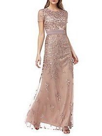 JS Collections Floral Mesh Gown MAPLE SUGAR